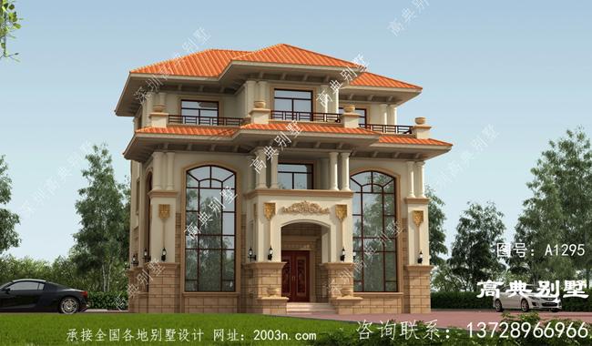 欧式三层别墅设计图-设计效果图