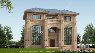 新别墅外观设计图纸,欧式石材奢华大气