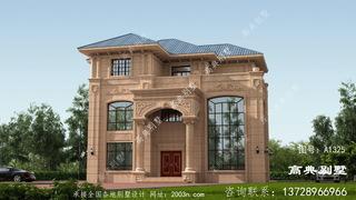欧式风格复式三层经典石材别墅设计图纸