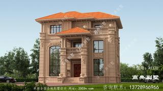 经典大气的三层欧式石材别墅设计效果图