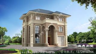 欧式三楼别墅设计外观效果图